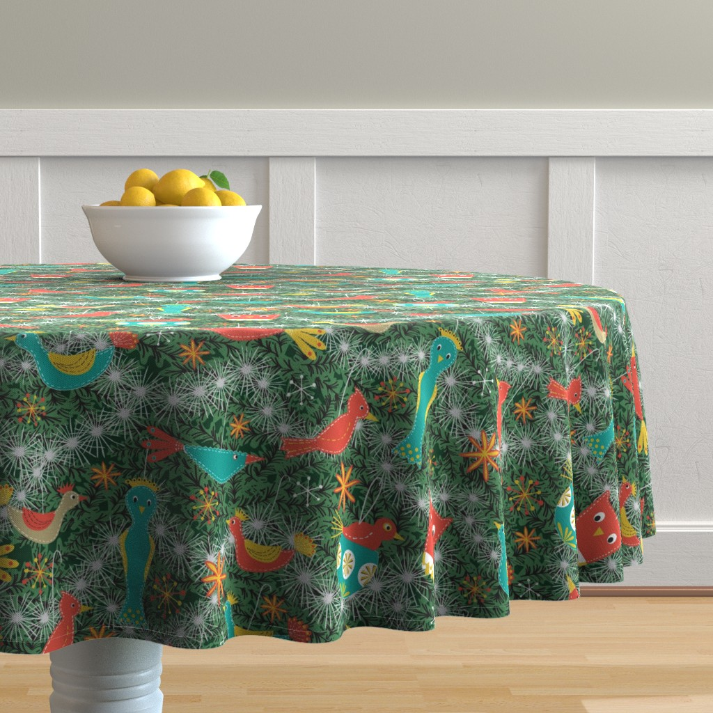 Malay Round Tablecloth featuring Felt Bird Ornaments by vinpauld