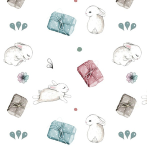 Pretty bunnies and wrapped gifts