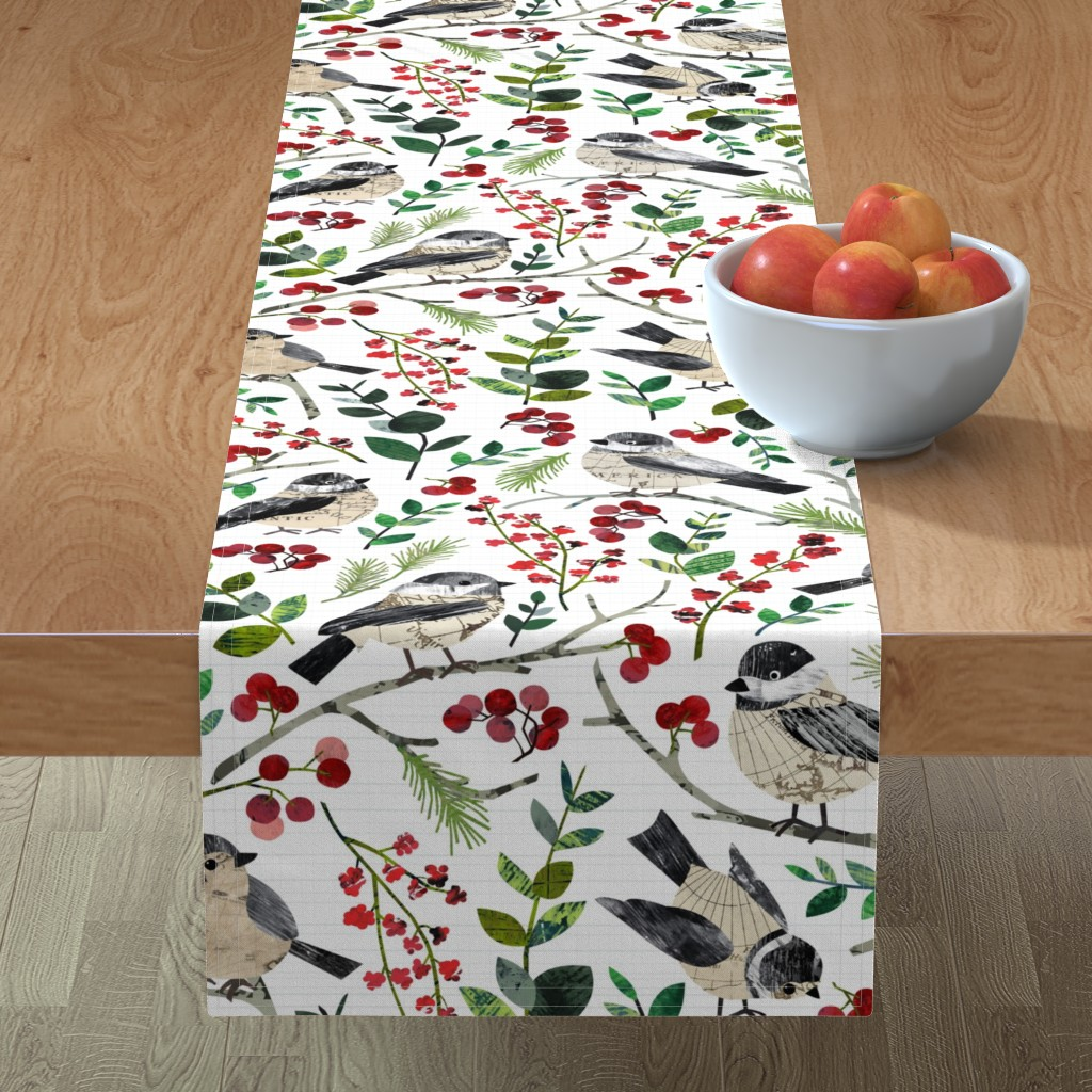 Minorca Table Runner featuring World Map Birds - Large by sarah_treu