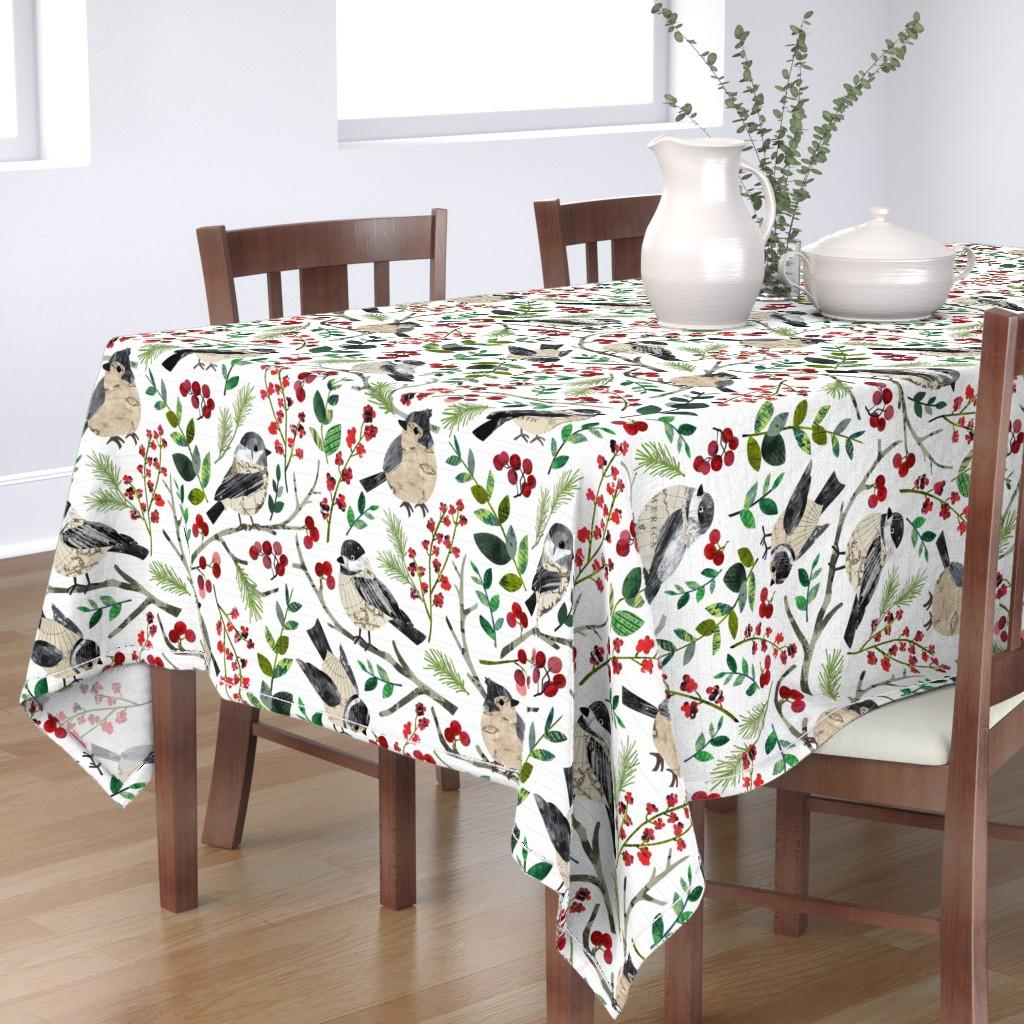 Bantam Rectangular Tablecloth featuring World Map Birds - Large by sarah_treu