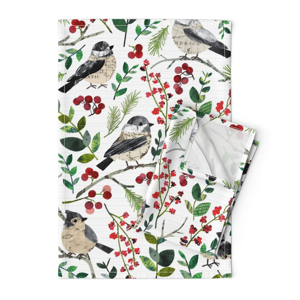 Orpington Tea Towels featuring World Map Birds - Large by sarah_treu
