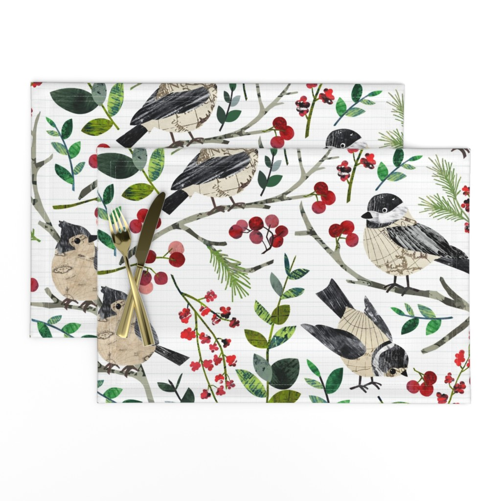 Lamona Cloth Placemats featuring World Map Birds - Large by sarah_treu