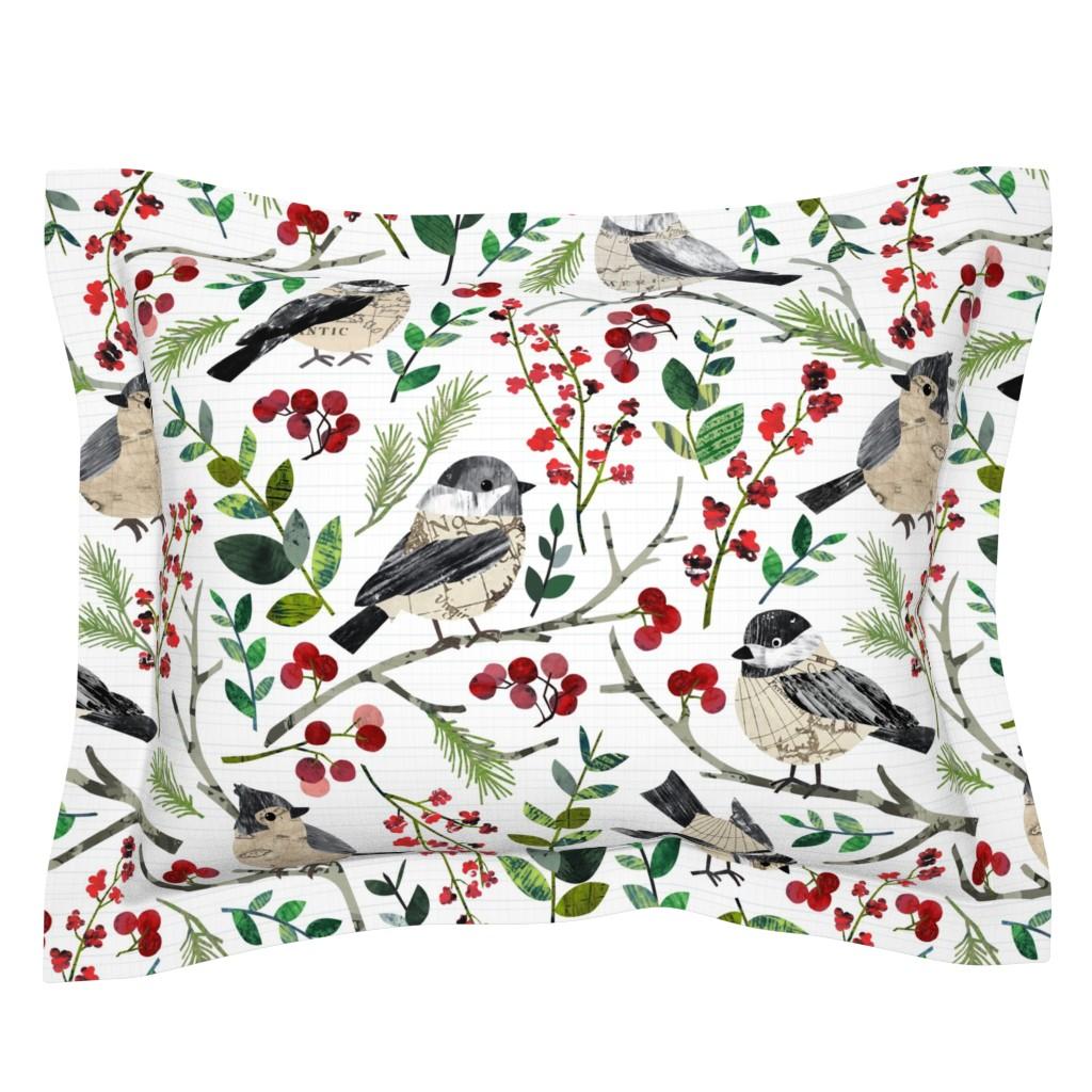 Sebright Pillow Sham featuring World Map Birds - Large by sarah_treu