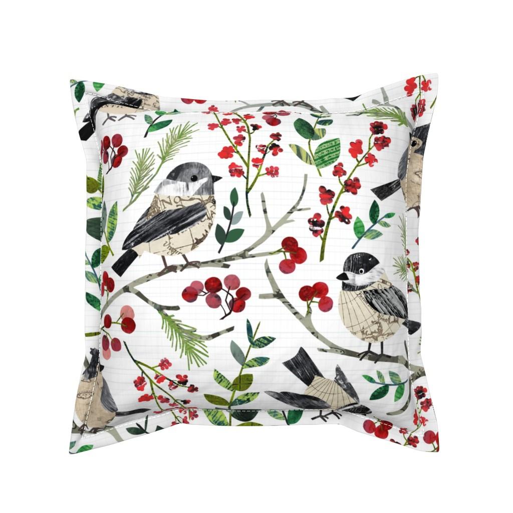 Serama Throw Pillow featuring World Map Birds - Large by sarah_treu
