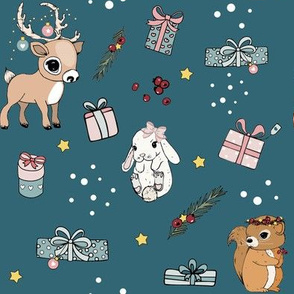 Bunny, Reindeer and Squirrel Christmas blue
