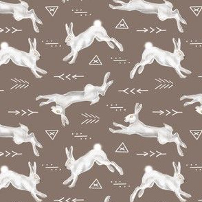 White Rabbits On Grey Brown