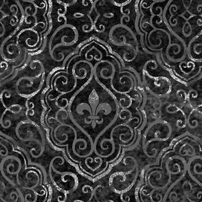 Fleur de Lis Damask Distressed Brocade