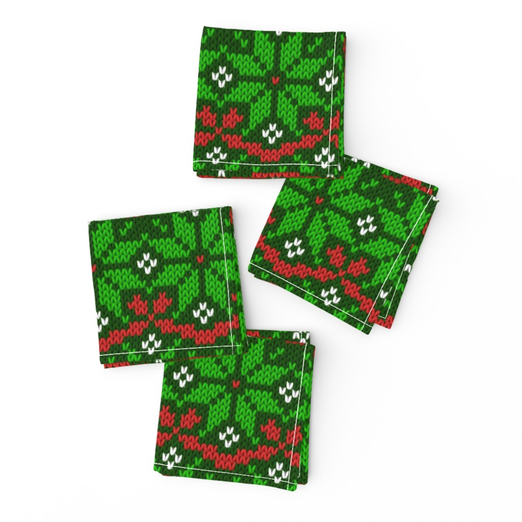 Frizzle Cocktail Napkins featuring Knitted Christmas snowflake green & red pattern by danadu