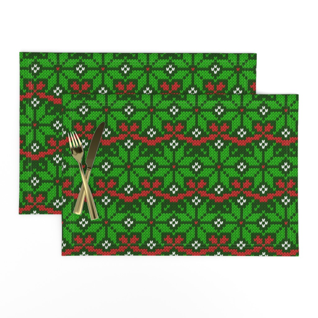 Lamona Cloth Placemats featuring Knitted Christmas snowflake green & red pattern by danadu