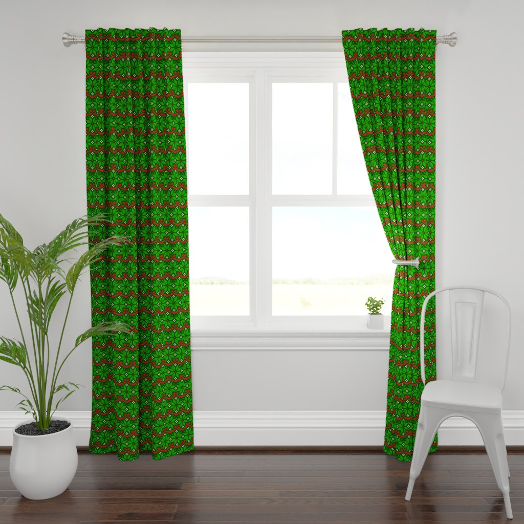 Plymouth Curtain Panel featuring Knitted Christmas snowflake green & red pattern by danadu