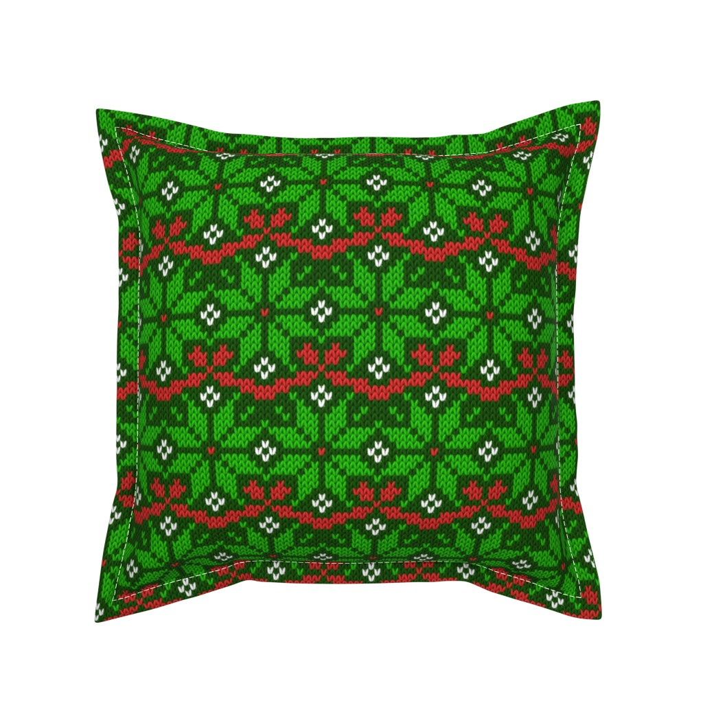 Serama Throw Pillow featuring Knitted Christmas snowflake green & red pattern by danadu