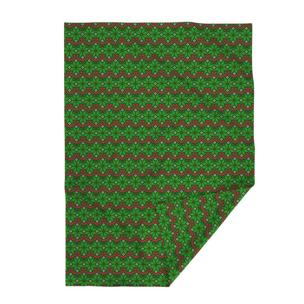 Lakenvelder Throw Blanket featuring Knitted Christmas snowflake green & red pattern by danadudesign