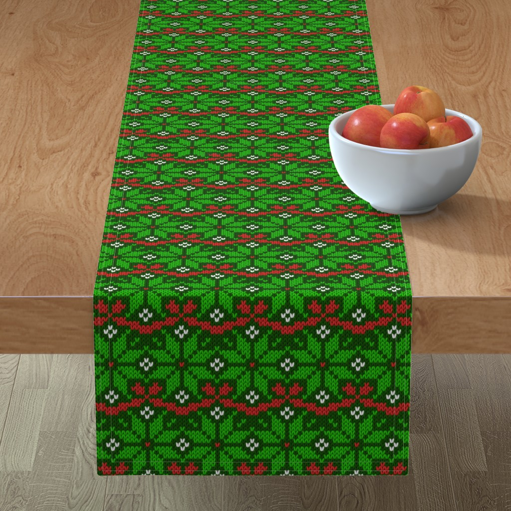 Minorca Table Runner featuring Knitted Christmas snowflake green & red pattern by danadu