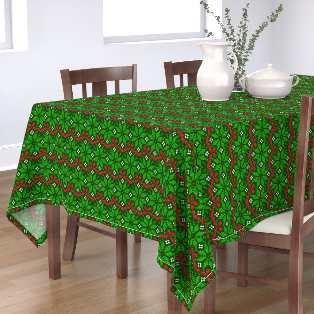 Bantam Rectangular Tablecloth featuring Knitted Christmas snowflake green & red pattern by danadu