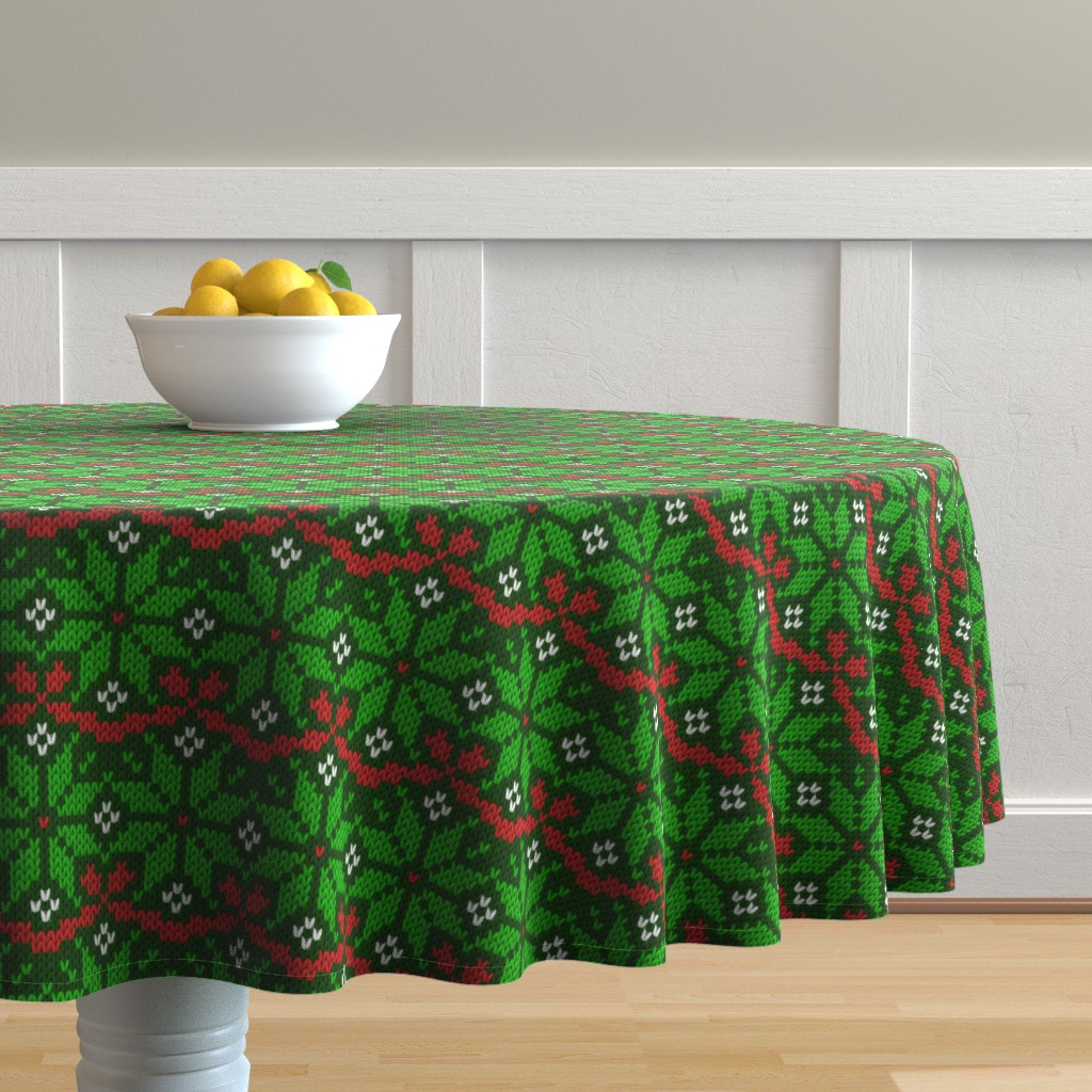 Malay Round Tablecloth featuring Knitted Christmas snowflake green & red pattern by danadu