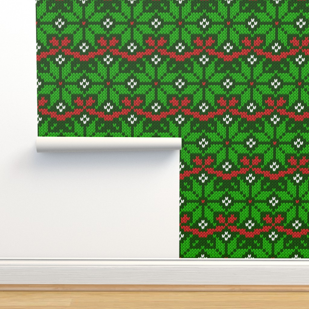 Isobar Durable Wallpaper featuring Knitted Christmas snowflake green & red pattern by danadu