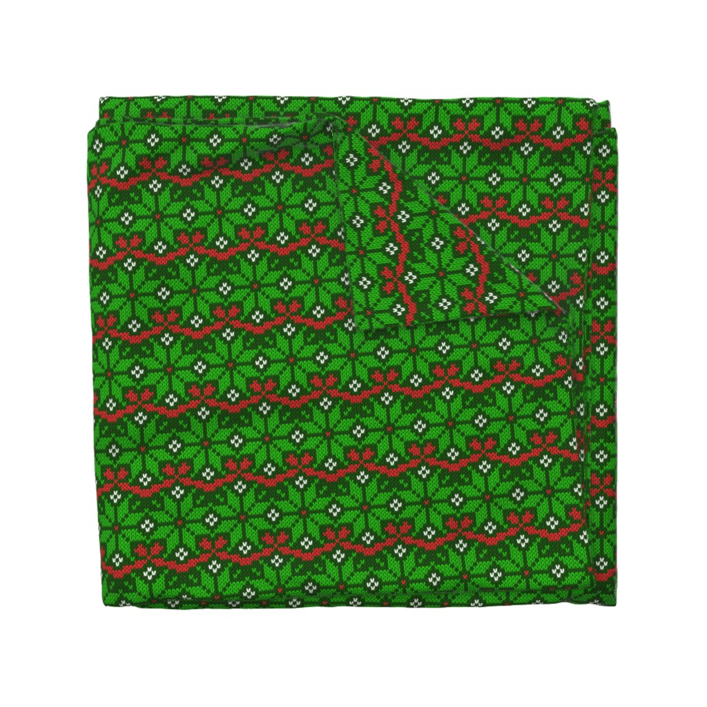 Wyandotte Duvet Cover featuring Knitted Christmas snowflake green & red pattern by danadu
