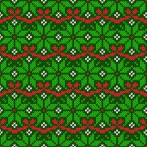 Knitted Christmas snowflake green & red pattern