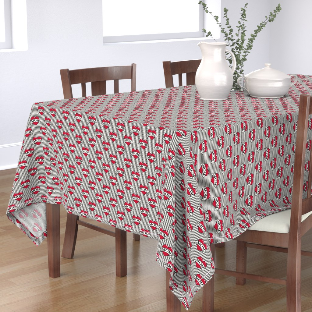 Bantam Rectangular Tablecloth featuring mom heart tattoo - red on stripes by littlearrowdesign