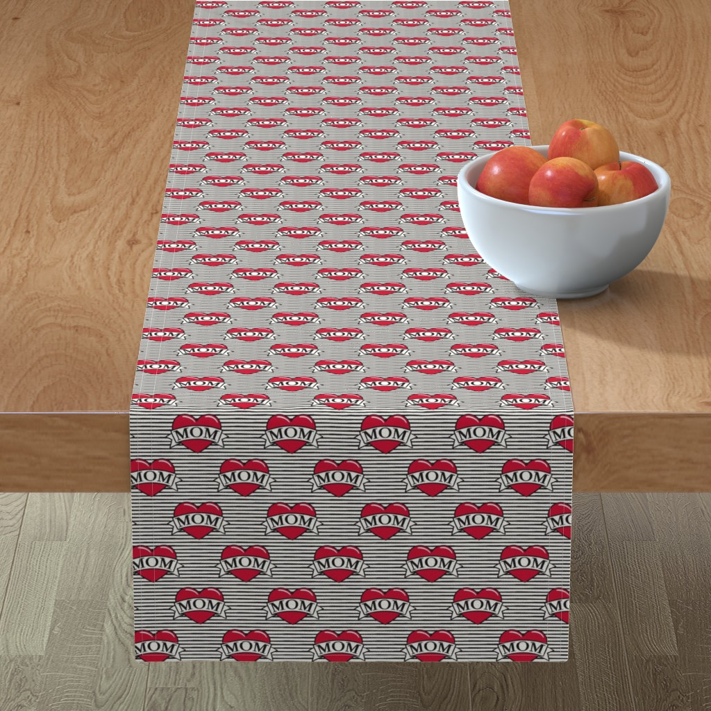 Minorca Table Runner featuring mom heart tattoo - red on stripes by littlearrowdesign