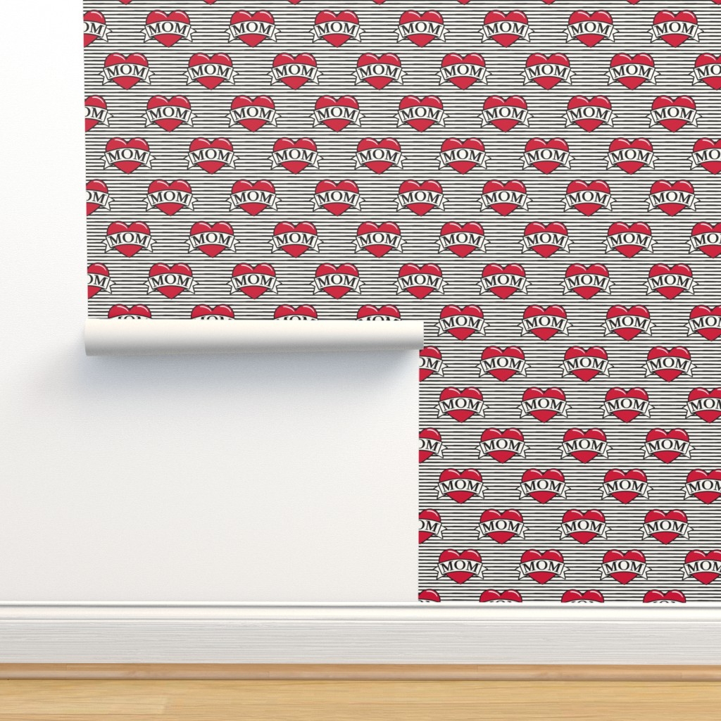 Isobar Durable Wallpaper featuring mom heart tattoo - red on stripes by littlearrowdesign