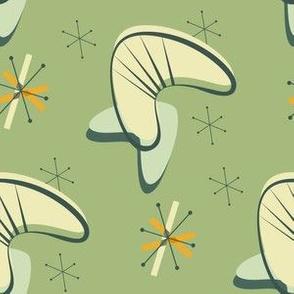 Mid century modern atomic boomerang green