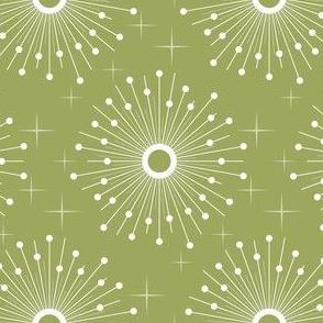 Mid century starburst floral - green