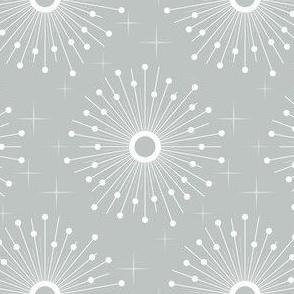 Mid century starburst floral - grey