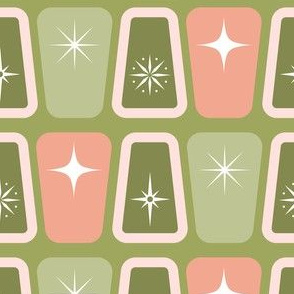 Green and pink starbursts