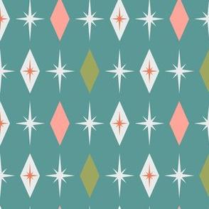 Mid century modern starburst diamond blue