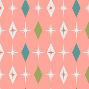 Mid century modern starburst diamond pink