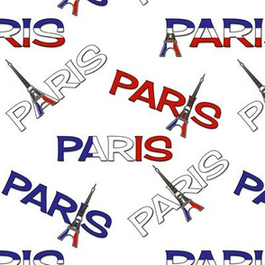 Paris Text Design with Eiffel Towers on White