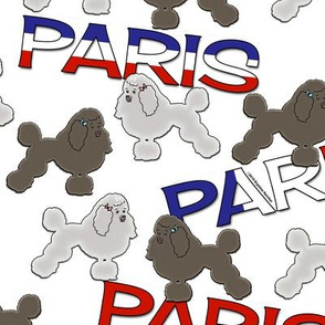 French Poodles and Paris on White