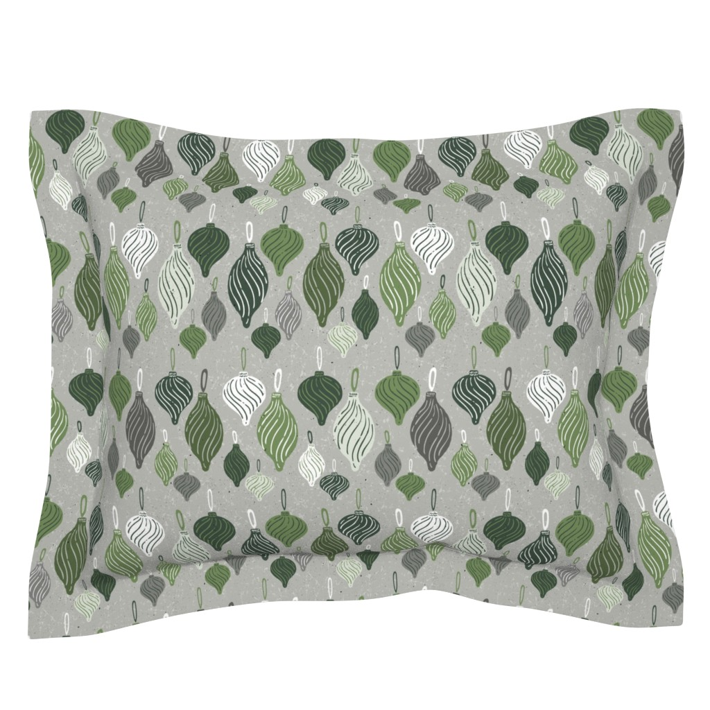 Sebright Pillow Sham featuring Vintage Textured Christmas Ornament Ogee Pattern in Shades of Green with White + Gray // Retro Holiday Glass Tree Ornaments by zirkus_design