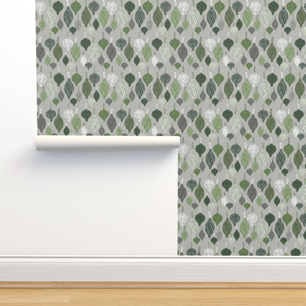 Isobar Durable Wallpaper featuring Vintage Textured Christmas Ornament Ogee Pattern in Shades of Green with White + Gray // Retro Holiday Glass Tree Ornaments by zirkus_design