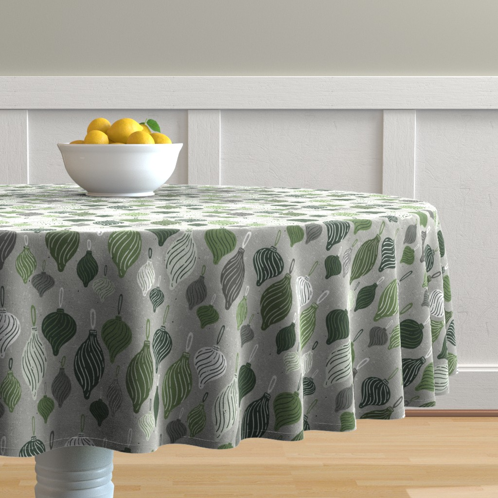Malay Round Tablecloth featuring Vintage Textured Christmas Ornament Ogee Pattern in Shades of Green with White + Gray // Retro Holiday Glass Tree Ornaments by zirkus_design