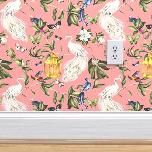 Wallpaper Chinoiserie Salmon Pink