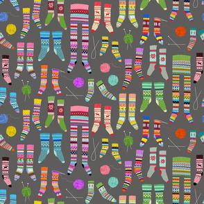 Fancy Fair Isle Feet (small scale on grey)