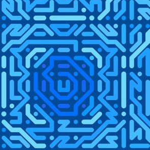 Blue Wiggly Squares