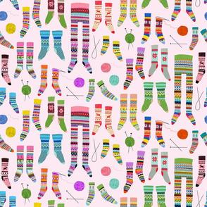 Fancy Fair Isle feet (small scale on pale pink)