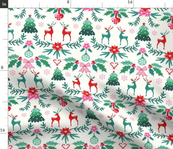 Scandinavian Christmas.Fabric By The Yard Scandinavian Christmas
