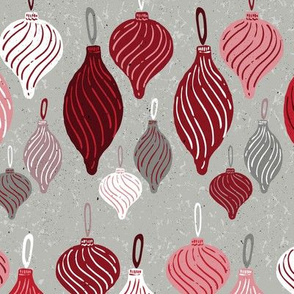 Vintage Textured Christmas Ornament Ogee Pattern in Crimson, Red, Pink, White + Gray // Retro Holiday Glass Tree Ornaments