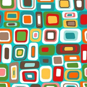 Colorful Mid Century Squares - Retro Geometric Design