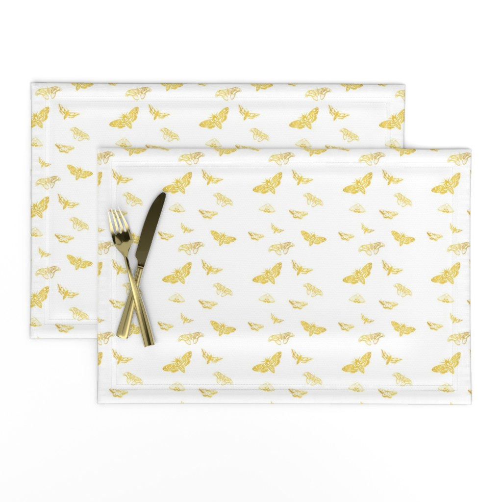 Lamona Cloth Placemats featuring black butterflies gold by nina_leth