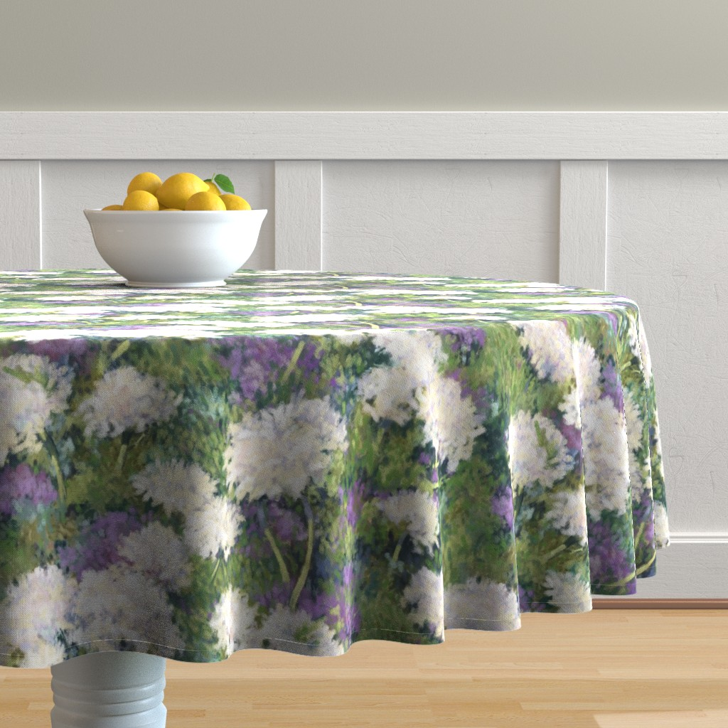 Malay Round Tablecloth featuring Painted Summer Snow Balls by southwind