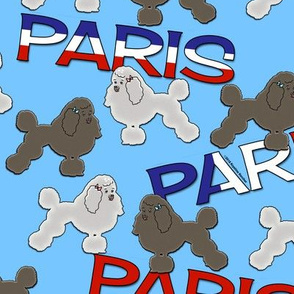French Poodles and Paris on Sky Blue
