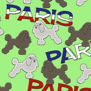 Poodles and Paris on Apple Green