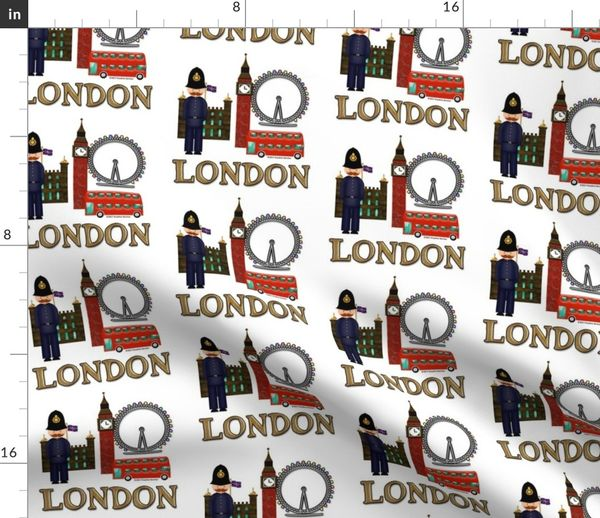 Stoff Meterware London England Riesenrad Big Ben