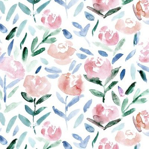 Blush pink flowers    watercolor florals