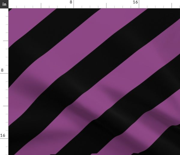 Fabric By The Yard Plum Purple Black Color Large Simple Stripe Gift Present Candy Paper Pattern